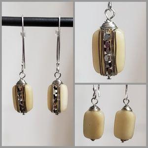 Jewelry - 🌷Stylish Dangle Cream & Silver-toned Earrings